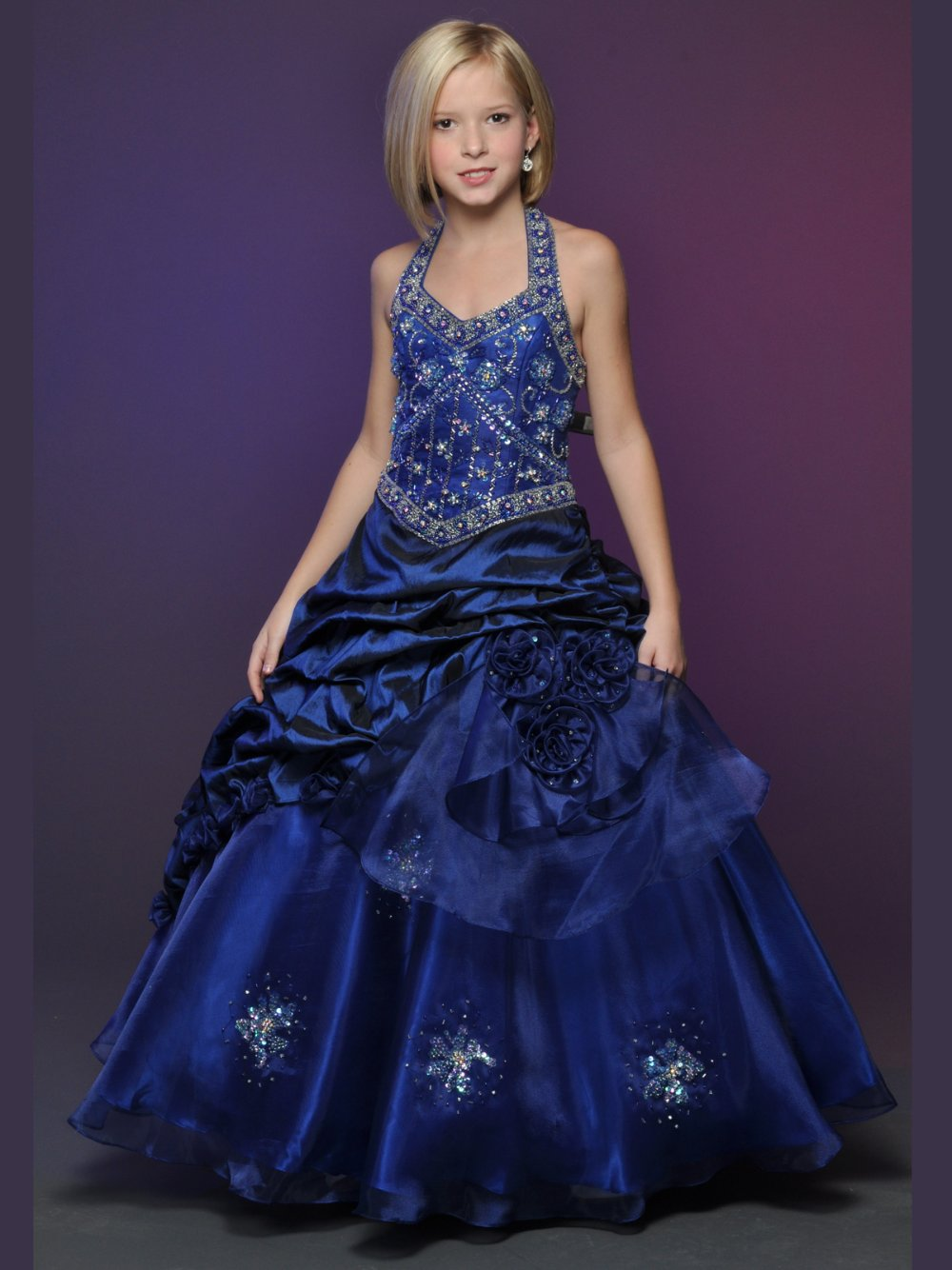 halter long pageant gown beading flower girl pageant dress