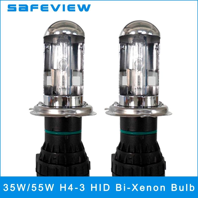 SAFEVIEW 2 PIECES H4-3 Auto HID Xenon Lamp Car Headlights 35W 55W 4300K 5000K 6000K 8000K 10000K Replacement Bi xenon Headlamp 2 pieces xenon bulbs car lamp d4r 4300k 42406wx 6000k 12v 35w