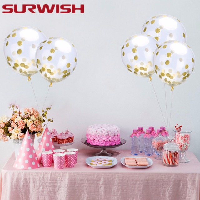 SURWISH 20PCS Clear Sequins Confetti Colorful Balloons Latex Balloon Party Wedding Festival Decor