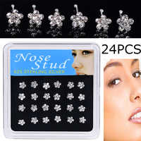 WALERV 24PCS Body Piercing Jewelry for Women Nose Stud White Crystal Silve Flower Nose Ring Piercing Ear Cartilage Nose Piercing