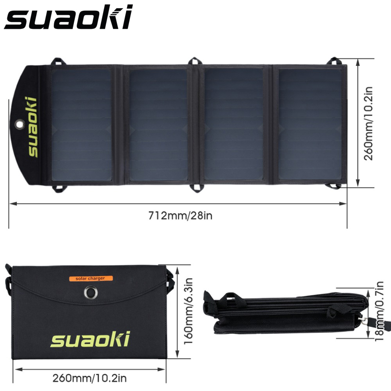 Suaoki Portable 25W Folding Foldable Waterproof Solar Panel Charger Mobile Power Bank For Phone Battery Dual USB Port Outdoor