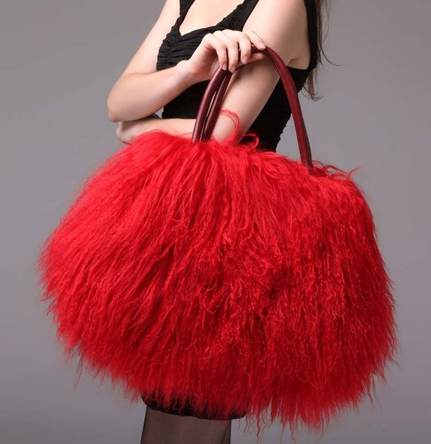 Hot Natural Mongolian Fur Bag 100 Real Tibet Handbag Be1244