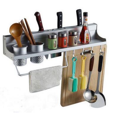 Smartlife Long Aluminum Kitchen Storage Rack Pantry Pan Pot Organizer Cookware Holder Hooks Spice Dinnerware Wall Shelf 50cm
