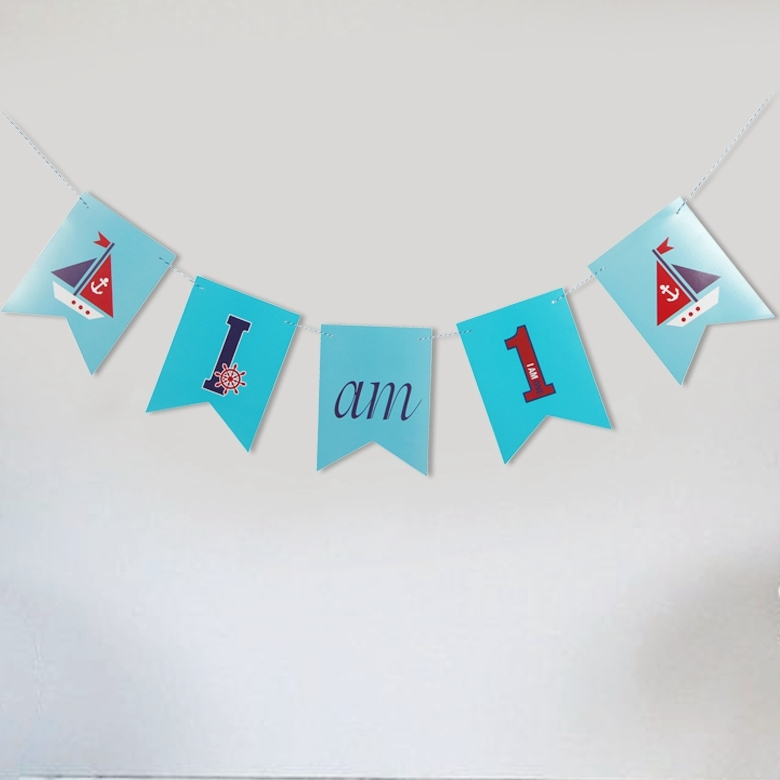 Blue Ocean I AM (1~6yr) DIY Banner Sail Boats Nautical Party 1st Banner Anchor Kids Birthday Banner Baby Sprinkle Highchair