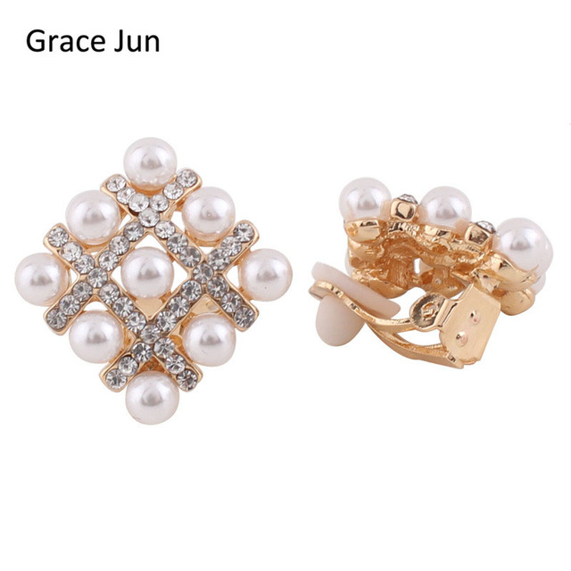 Vintage Square Style Womens Earrings Clips Plated Gold Silver Clip On No Pierced Simulated Pearl Ear High Quality In From