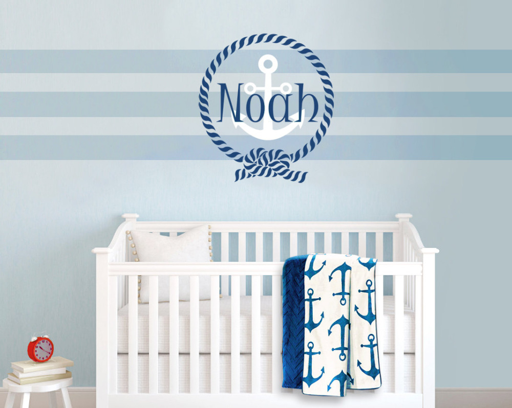 Personalised boys name wall stickers for baby boy room removable personalised boys name wall stickers for baby boy room removable sailor themed anchor wall decal mural diy home decor za291 in wall stickers from home amipublicfo Image collections