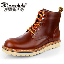 Odescalchi New Mens Genuine Leather Ankle Boots Winter Spring British Men Boots Male Tooling Boots Outdoor High-top Men Shoes
