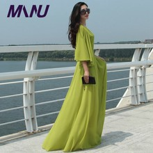 7XL Plus Size Long Autumn Winter Butterfly Sleeve O-Neck Long Maxi Vestidos Black Dresses