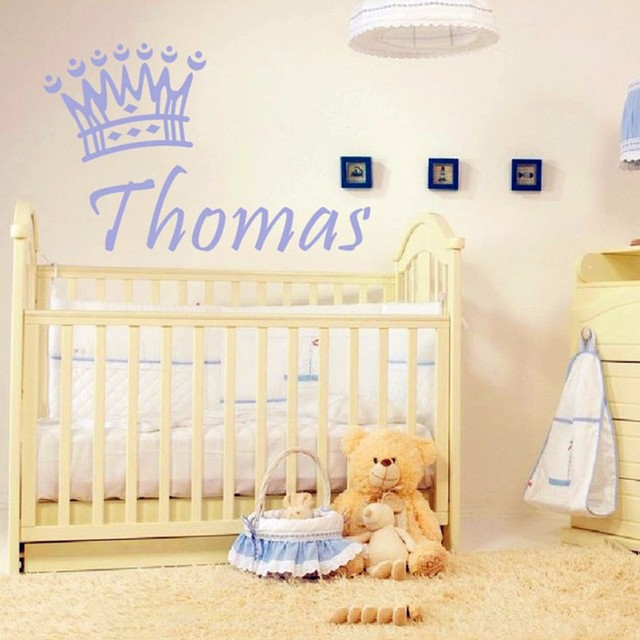 New Personalized Baby Boys Name Custom Wall Stickers, Baby Exclusive Poster  Crown Vinyl Decals Baby