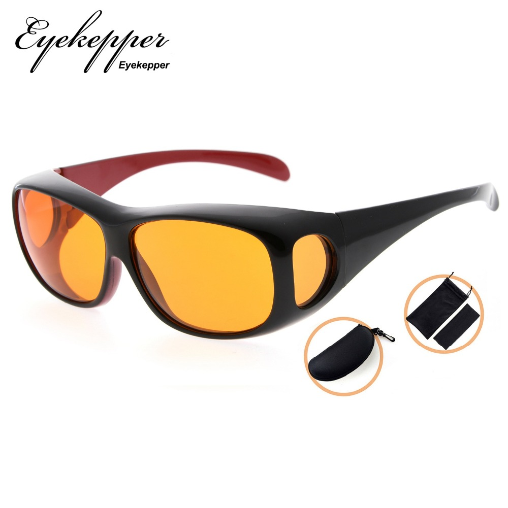 DSXM1806 Eyekepper 100% Blue Light Reduction,Huge Fitover Anti Blue Blocking Computer Glasses with Extra Amber Lenses.