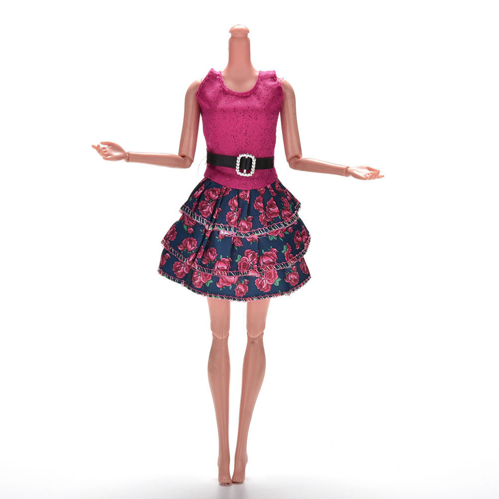 New 1 Pc Rose Flower Print Princess Dress for doll s Summer Doll Clothing Mini Dolls Tank Dresses Best Gifts for Girls