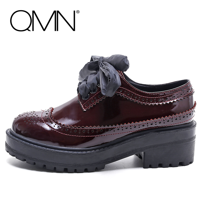 QMN women genuine leather platform flats Women Patent Leather Oxfords Typical Brogue Shoes Woman Creepers 35-40 qmn women genuine leather platform flats women laser cut square toe brogue shoes woman oxfords women leather creepers 34 42