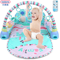Beiens Newborn Baby Multifunction Piano Fitness Rack With Remote Control Music Rattle Infant Activity Play Mat