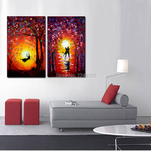 Set Of Two Paintings Abstract – DancersSunset Swing – Acrylic Contemporary Art Palette Knife oil painting – Yellow Orange Blue