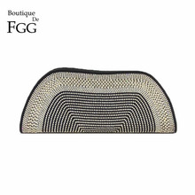 купить Boutique De FGG Dazzling Crystal Diamond Handmade Black Beaded Evening Purse Clutch Bag Women Wedding Prom Formal Dinner Handbag по цене 2930.9 рублей