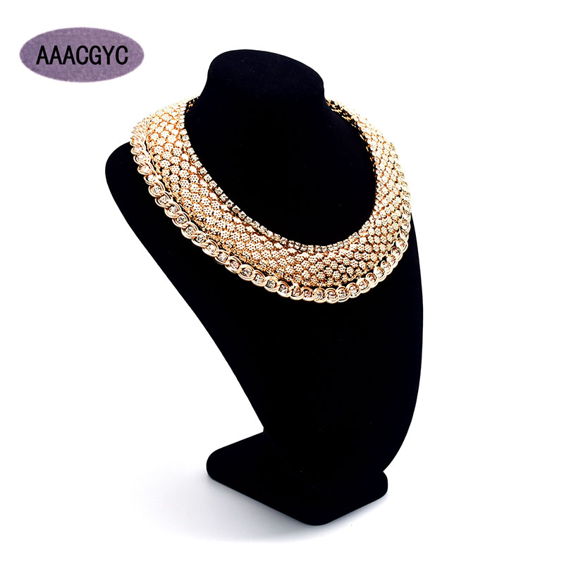 AAACGYC A009 Jewelry Necklace 5 layers Steel Gold color Rhinestone necklace bride Gold color jewelry Wedding