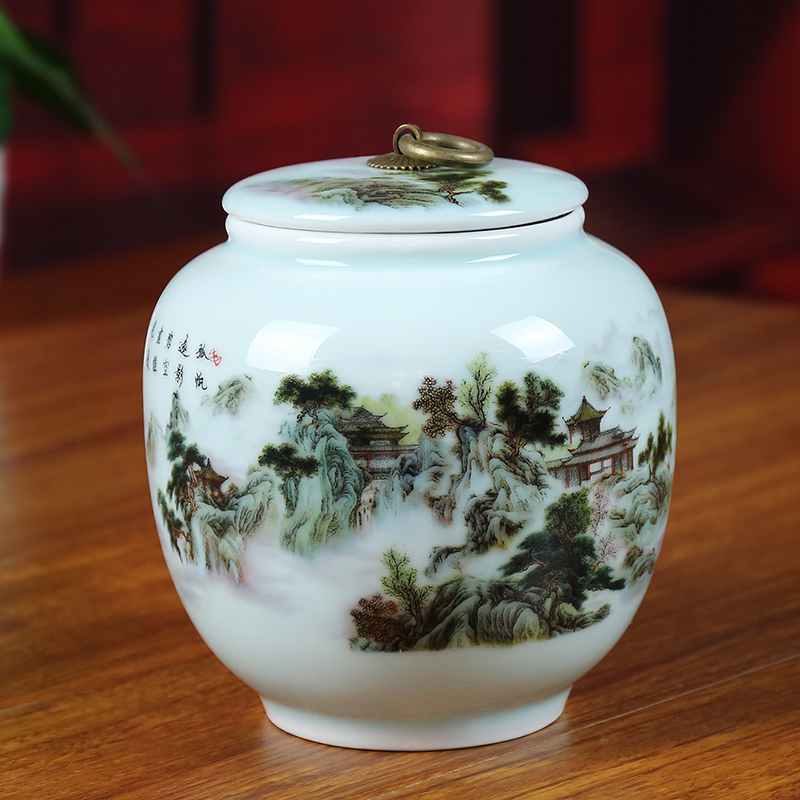 Handmade Landscape Shadow Blue Ceramic Tea Jar Jingdezhen Art Porcelain Tea Bottle Ceramic Tea Pot Gift Sealed Cans Caddy