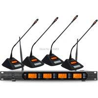 Высокого класса D400 UHF 4X100 канальный цифровой Беспроводной микрофон Системы 4 Стол микрофон блок
