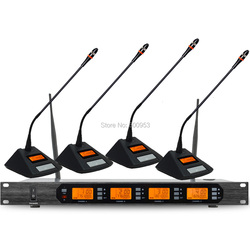 High-Class D400 UHF 4x100 Channel Digital Wireless Microphone System 4 Table Meeting Mic Unit