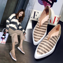 ins hot Genuine Leather shoes Women Single shoes ladies pumps handmade pointed toe First layer cowhide lattice stitching fashion