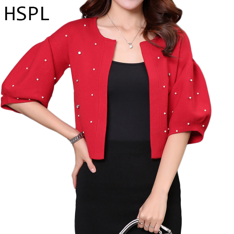 HSPL Cardigan Women Knitted Female Pink Sweater For Autumn 2017 Hot Sale Short Fashion Cashmere Knitting Summer O-neck Jumper