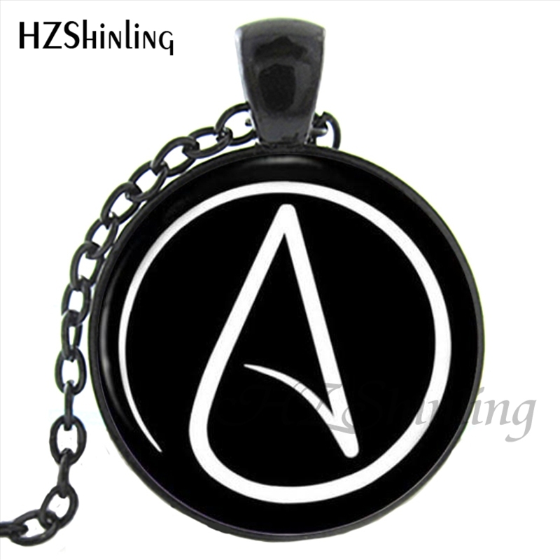 Hz1 Mini 0017 Hot Selling Atheist Symbol Pendant Necklace Glass Dome