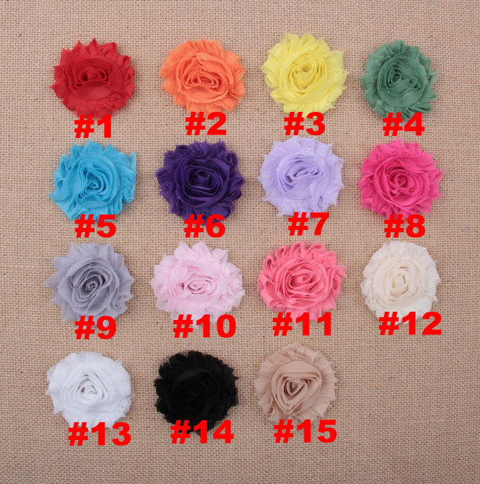 Yundfly 10pcs Chic Shabby Chiffon Flowers For Kids Hair Accessories 3D Frayed Fabric Flowers For Headbands