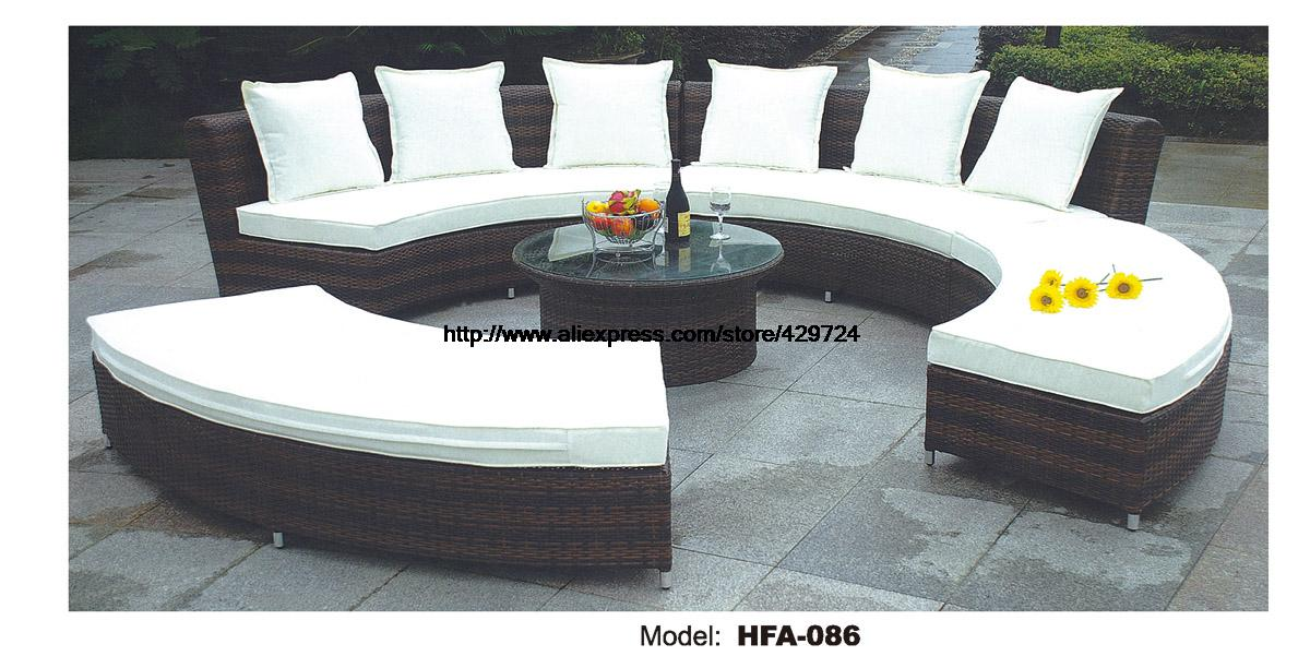 Circular Arc Sofa Half Round Furniture Healthy PE Rattan Garden Furniture Sofa Set Luxury Garden Outdoor Furniture Sofas HFA086 circular arc sofa half round furniture healthy pe rattan garden furniture sofa set luxury garden outdoor furniture sofas hfa086