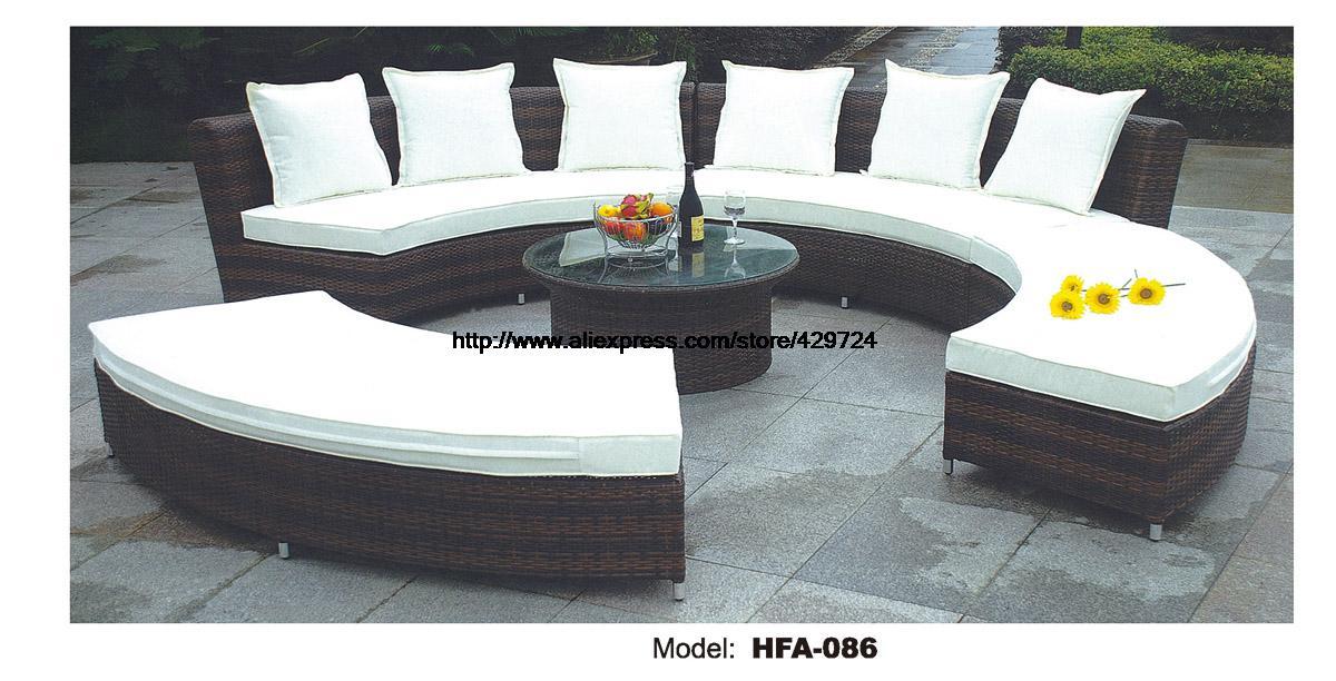 Circular Arc Sofa Half Round Furniture Healthy PE Rattan Garden Furniture Sofa Set Luxury Garden Outdoor Furniture Sofas HFA086