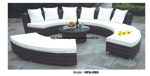 circular arc sofa half round furniture healthy pe rattan garden furniture sofa set luxury garden outdoor