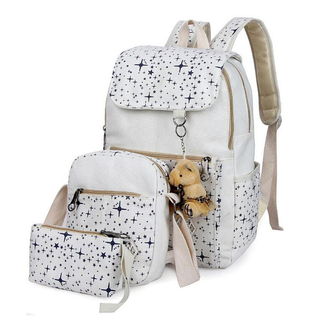 2017 new arrived Fashion Gilrs Canvas Casual Backpack Set Little Stars Prints Women Travel Bag Preppy Style School Bag Set