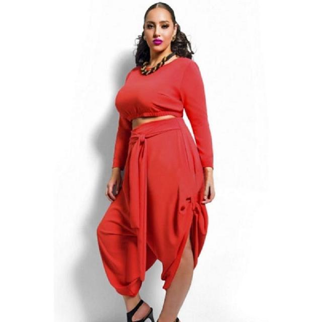 2015 new Make your beauty dreams come true plus size clothing  White red Plus Size Crop Top Draped Pants Set XXL  XXXL 60591