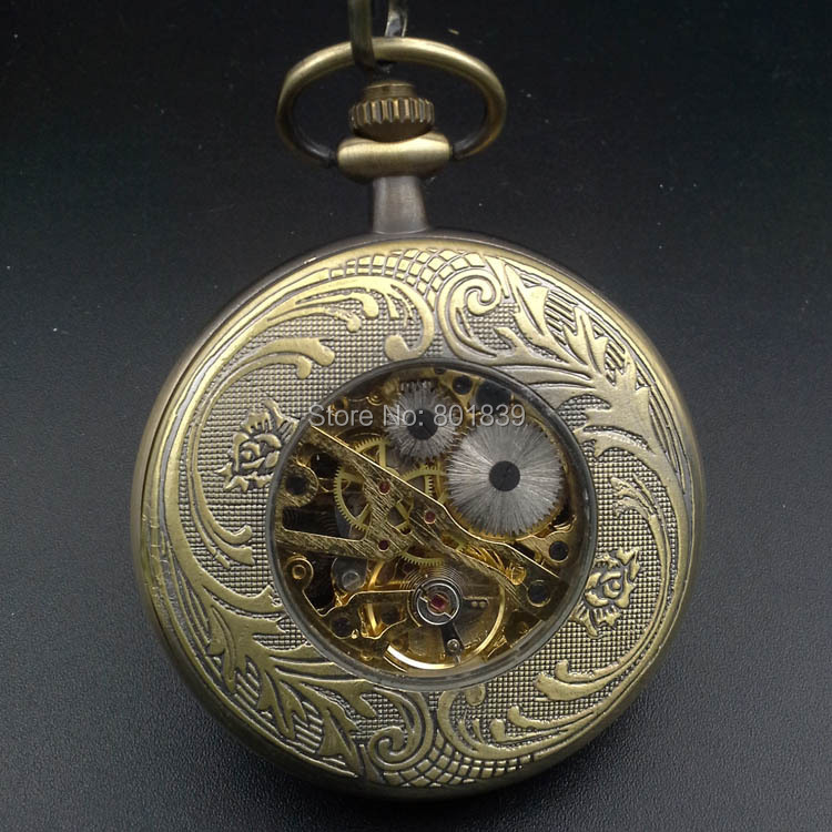 Antique Style Bronze Tone Case 12 Star Signs Wind Up Mens Mechanical Pocket Watch W/ Chain Nice Xmas Gift H053
