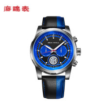 цена на Seagull Watch Automatic Mechanical Watch Inter Milan Limited Edition Multiple Time Zone Calendar Week Black Leather Men Watches