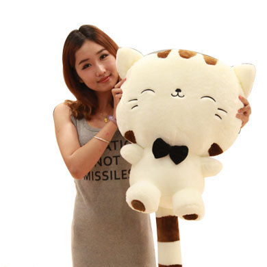 60cm lovely happy kitty plush toy lucky cat doll throw pillow gift w6032 cartoon cat doll about 60cm bowtie cat plush toy soft throw pillow birthday gift x107