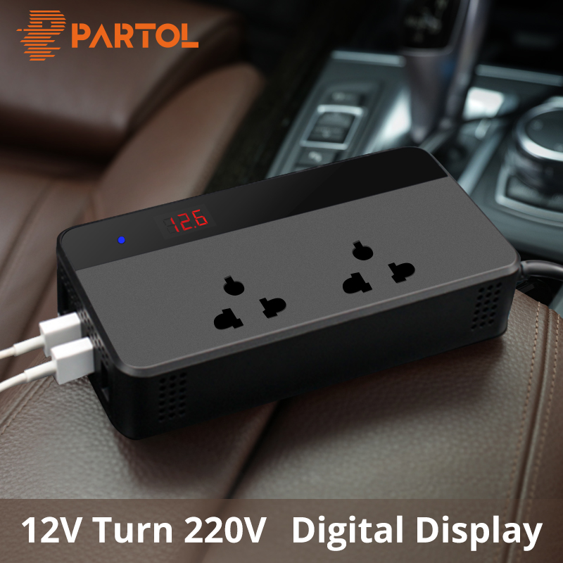 Partol Inverseur De Voiture 12 v 220 v 200 w Auto Power Inverter 4 USB Adaptateur Socket Chargeur Tension Convertisseur Auto cigarette Briquet