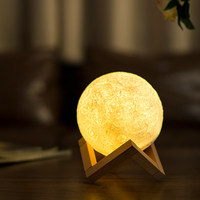 USB Rechargeable 3D LED Dual Light Color Change Print Moon Lamp Touch Switch Desk Table Nightlight