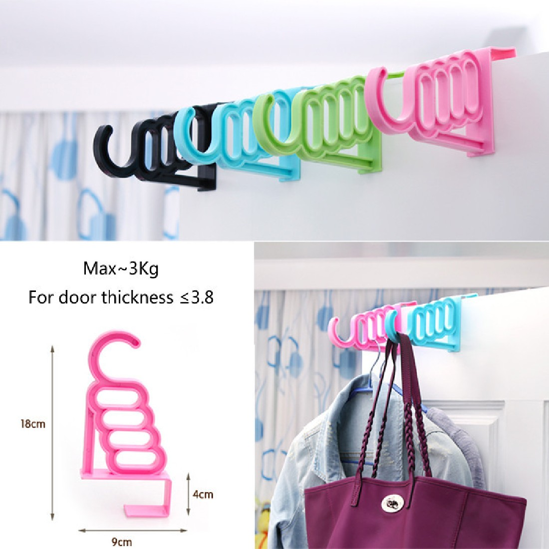 Top Sale Multi-Function Home Accessories Foldable Clothes Hanger Drying Rack 5 Hole Suit Bathroom Door Plastic Organizer