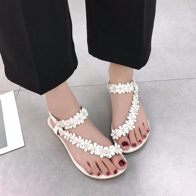 66ad99b80057a 2018 New Sandals Women Fashion Summer Bohemia Flower Beads Flip-flop Shoes  Casual Beach Flat Ladies Sandals Shoes Zapatos Mujer