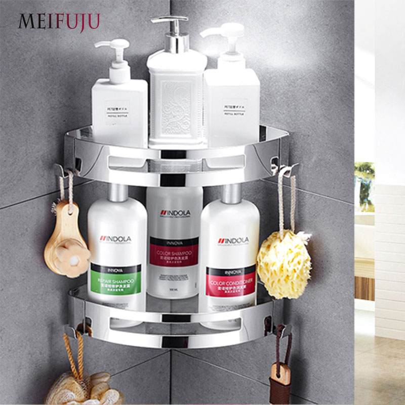 Brushed Mirrored Single Dual Triple Tier Bathroom Corner Shelf Shower 304 Stainless Steel Bathroom Shelves hooks