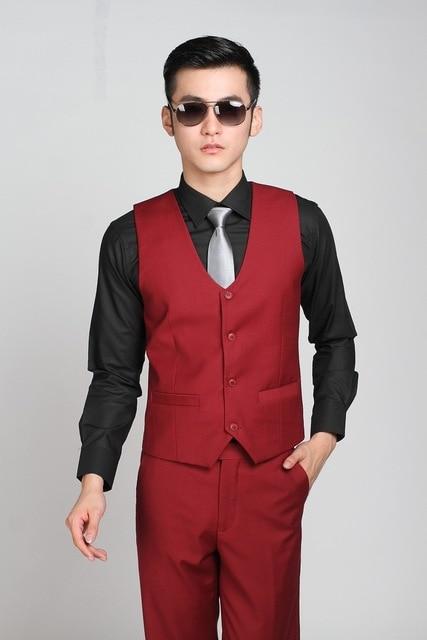 Korean Brand Fashion Style Red Wedding Waistcoat in Men's Suit Vests Business Formal Vest Groom Vest Colete Masculino Slim Fit