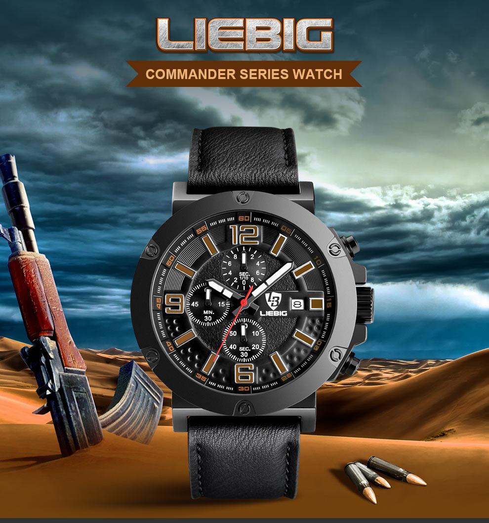 LIEBIG Men Quartz Wristwatches Military Outdoor Sports Watches Stop Watch 50M Waterproof Fashion Relogio Masculino ZHG161017