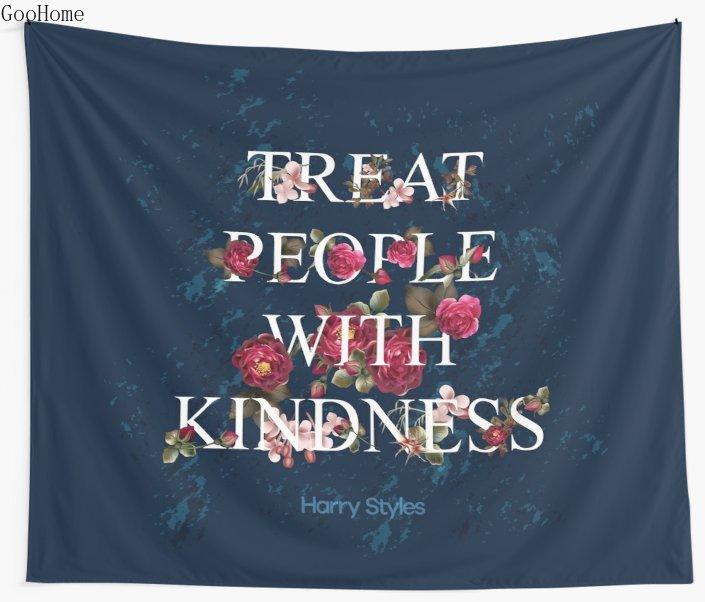 Treat People With Kindness - Harry Styles Wall Tapestry Cover Beach Towel Throw Blanket Picnic Yoga Mat Home Decoration