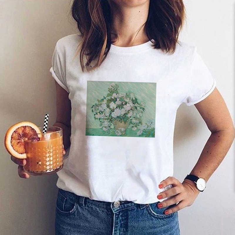 T-shirts Ukiyo-e Vincent Van Gogh blanc drôle T-shirts Harajuku 2019 femmes à manches courtes graphique T-shirts hauts japon