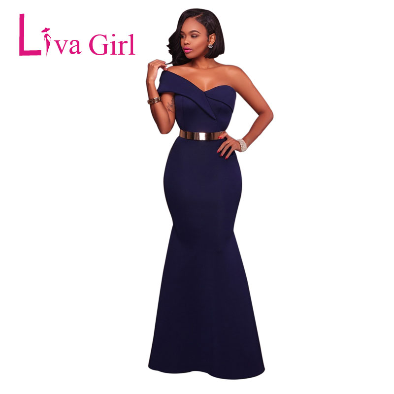 LIVA GIRL Elegant One Shoulder Party Maxi Dress Women Sexy Red Black Growns Evening Sheath Long Dresses Formal Vestidos De Festa