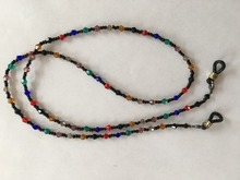 colorful faceted glass beaded reading glasses chain lanyard