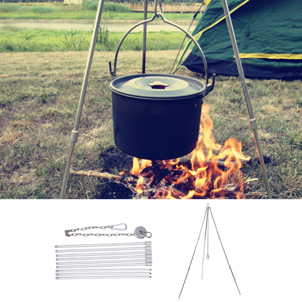 Outdoor Picnic Cooking Tripod Hanging Pot Durable Portable