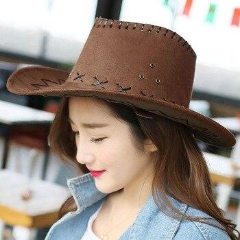 Diseño de Moda transpirable hombres mujeres estilo vaquero sombrero de  verano al aire libre viaje Cowgirl Western Headwear Cap dc80e343612