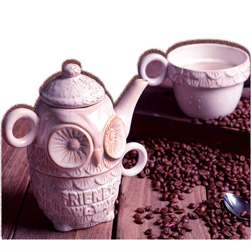 Ensemble de café peint à la main de Style européen en céramique hibou Design ensemble de thé Pot et tasse en relief Animal lait tasse nouveauté mignon cadeau 1 ensemble