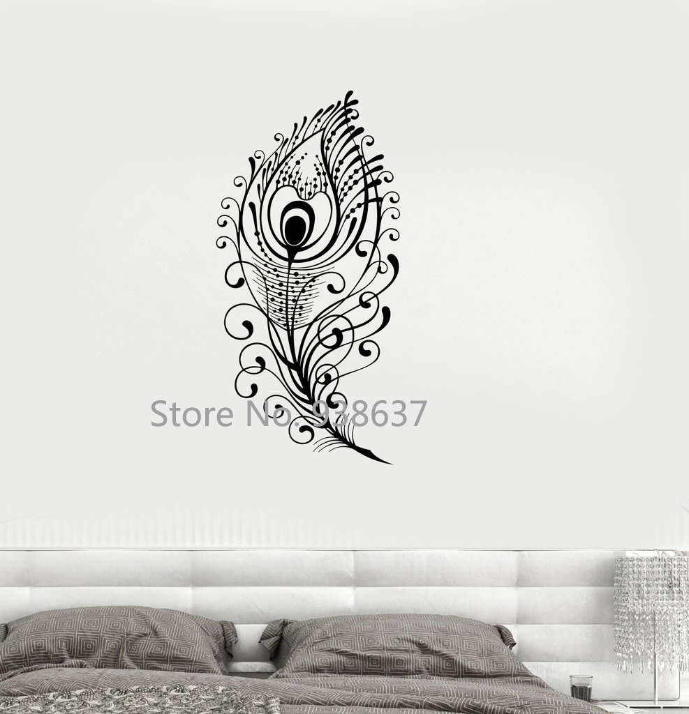 Buy peacock feather vinyl decal beautiful - Beautiful wall stickers for living room ...